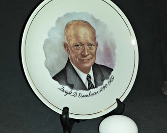 Dwight D Eisenhower Commemorative Porcelain Plate / Presidential Plate / Ike Plate / Ebrink USA Souvenir Plate