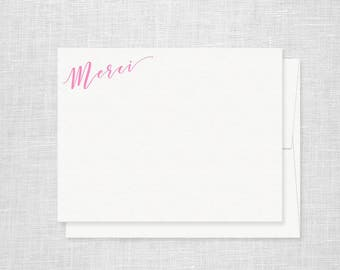 Neon Pink Merci Letterpress Stationery - Set of 6 Flat Notes - Thank You