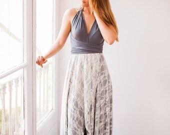 Asymmetrical lace dress, asymmetrical bridesmaid dress, high low dress, high low lace dress, lace bridesmaid dress, gray bridesmaid dresses,