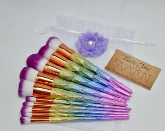 Toiletry Bag Kit with 10pc Vibrant Rose Gold Diamond Rainbow Glitter Make Up Brush Set Professional Eyeshadow Blender Brushes Makeup
