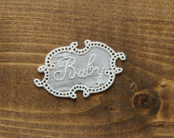 Vintage embroidered lace tag name BABY personalize alphabet letter initial tag label mark laundry washing personalise
