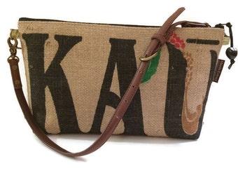 MTO. Custom. Ka'u Shoulder Purse and Burlap Handbag. Repurposed Ka'u Coffee Mill Sack, Big Island. Handmade in Hawaii.