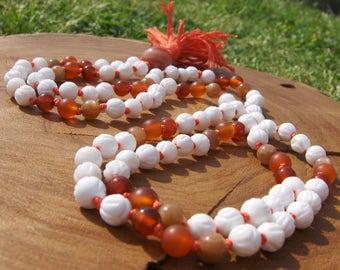 Tridacna shell mala, Carnelian Mala, Agate Mala, Moonstone Mala, Orange Mala, Peach Moonstone Mala, Prayer Beads, Japa Mala, Yoga Necklace
