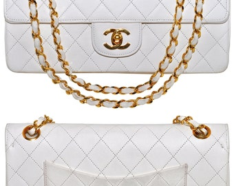 """CHANEL 10"""" Quilted White Lambskin Leather Double Flap Handbag 2 Way Gold Chain"""