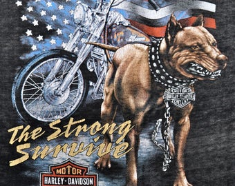 Vintage 80s 1988 HARLEY DAVIDSON Motorcycles 3D EMBLEM The Strong Survive Pit Bull Paper Thin T Shirt S M
