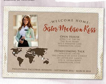 DIGITAL or PRINTED, LDS Missionary Homecoming Card, Welcome Home, Map, Photo, custom color, add your photos, or missionary farewell card