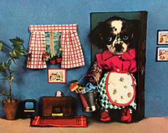 Vintage Cute Dressed Up Puppies Postcard