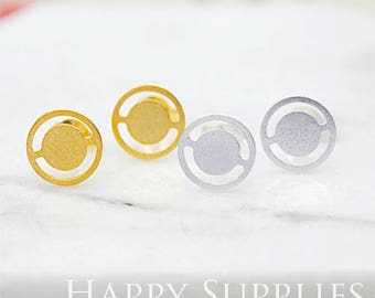 Nickel Free - High Quality Wheel Dual-used Golden / Silver Brass Earring Post Finding with Ear Stud Stopper (ZEN148)