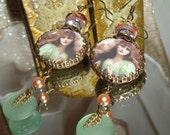 Sage gypsy image bead earrings Pamelia Designs Sacred Jewelry alterd art vintage charm