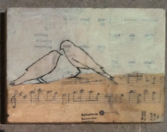 Original Mixed Media Encaustic Painting by Janet Nechama Miller - Quietly Silently Resisting - Birds and Sheet Music