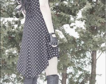 SALE - Dress - Steampunk - Burning Man - Playa Wear - Nautical Dress - Gypsy Bohemian - Sexy - Polka Dots - Gypsy Boho - Boheme - Size Small
