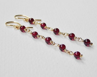 Long Garnet Earrings - Gold Filled Beaded Dangle Earrings Beadwork Rosary Chain Earrings Drop Earrings