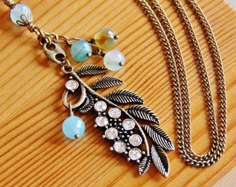 Long boho necklace, hippie necklace, natural stone necklace, nature jewelry, agate necklace, gemstone necklace, leaf pendant necklace, OOAK