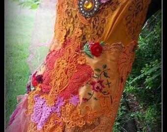 "Bridal Wedding Prom Formal Gown Dress ""Tangerine Dream""Genuine Antique & Vintage textiles Bohemian,gothic"