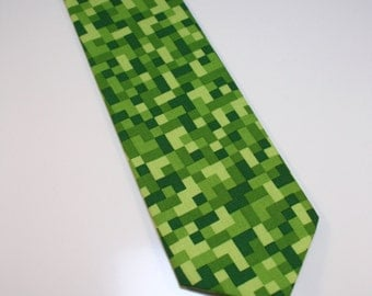 Little and Big Guy NECKTIE Tie - Holiday Christmas Green Pixels - (Newborn-Adult) - Baby Boy Toddler Teen Man Minecraft