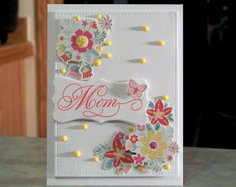 Handmade Card Perfect for Mom Birthday or Mother's Day - Springtime Flowers with Butterfly