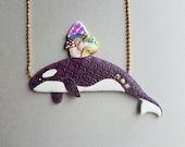 HALF PRICE - Mushroom Orca necklace