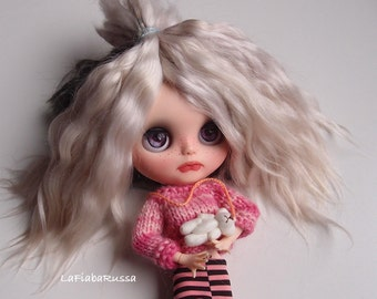 Combed Mohair locks ash blonde 8-10 in cm ombre Doll Hair extra long  goat/ reroot/ Reborn/ Dollfie bjd, doll wig, pullip, pukifee