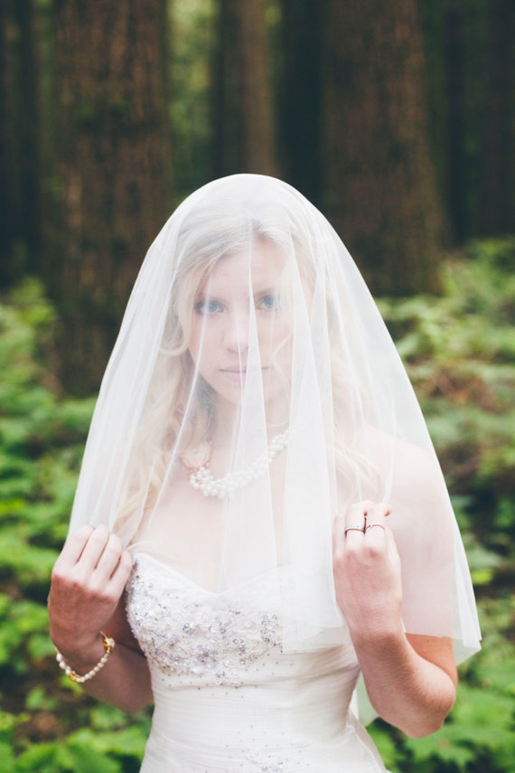 Katie Middleton Soft Drop Veil, Circle Veil, Wedding Veil, English Net Veil with Blusher, Bridal Veil, Elbow Length Veil White Ivory Blush