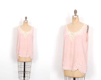 Vintage 1920s Camisole / 20s Silk and Lace Lingerie Blouse / Pink ( M L )