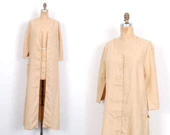 Vintage 1990s Dress  / 90s Max Mara Linen Maxi Dress and Duster / Beige ( S M L )