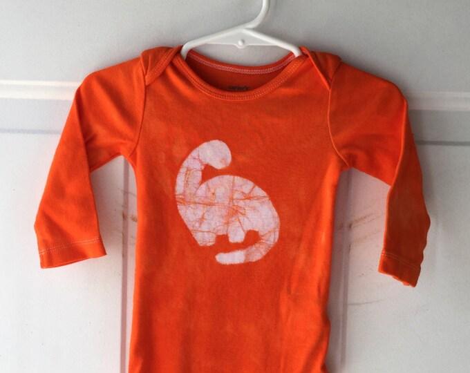 Dinosaur Baby Bodysuit, Dinosaur Baby Gift, Brontosaurus Baby Gift, Gender Neutral Baby Gift, Orange Baby Bodysuit (9 months)