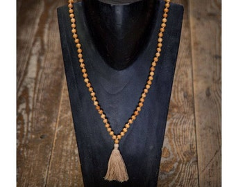 Wood Beads Mala Necklace with Tassel, Beaded Necklace, Organic Necklace, Sacred Necklace, Prayer Bead Mala Necklace, Tribu, Tribal jewellery