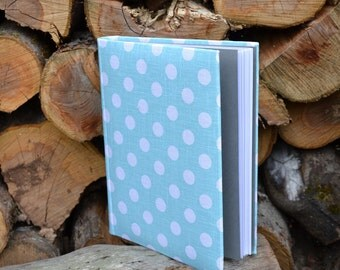 Writing Journal /  Handmade Sketchbook / Handmade Journal / Unique Journal /  Notebook /  Diary / A5. 8 x 6 inch Light blue white polka dots