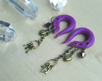 Bronze Rainbow Secret Messenger Charmed Gauges // Keys // Hearts // Dangle  Plugs