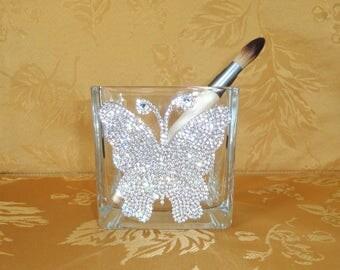 "Rhinestone Butterfly 4"" x 4"" Square Glass Vase, Candle Holder, Makeup Brush Holder, Pen Holder, Home Decor"