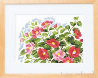 Japanese Cross Stitch Kit Modern, Red Camellia Flower, Megumi Onoe, Embroidery DIY Kit Tutorial, Hand Embroidery Flower Design, EK074