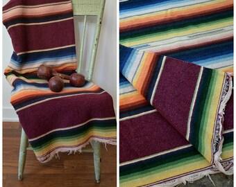 Vintage Mexican Serape Saltillo Blanket/ Handwoven Vintage Mexican Blanket/ Burgundy Multi Stripe Wool Blanket Large Size