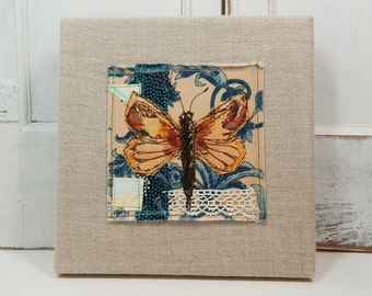 Yellow Butterfly - original fabric collage