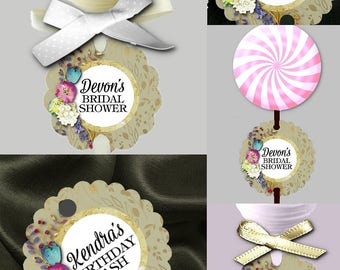 12 Cake Pop Tags, Sucker or Lollipop Tags, Watercolor Florals Design, Flowers, Gold Colors, Wedding, Baby or Bridal Shower, Birthday Party