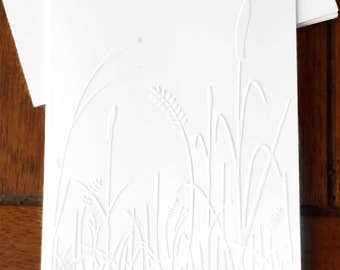 Embossed  Cards /  Cattails / Set of 12 / Card Stock / A2 Envelopes / Craft Supplies / Scrapbooking