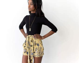 Tie Around Pleated Shorts - Hand Printed - Organic Cotton  -Slow Fashion - Eco Fashion - Camel 'Thistle' - Thief and Bandit®