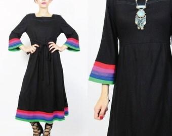 1970s Hippie Cult Dress Rainbow Striped Dress Long Black Flared Bell Sleeve Dress Bohemian Square Neckline Tie Back Dress (S/M) E309