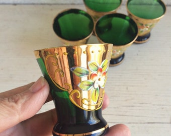 Vintage cordial shot glass wedding, Czech hand painted emerald green gold gild enamel flowers, Bohemian glass barware, colored cordial glass