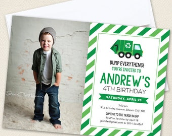 Garbage Truck Party Photo Invitations (with large photo) - Professionally printed *or* DIY printable