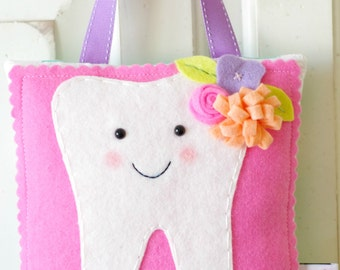 Darling Hanging Tooth Fairy Pillow with Pocket (bright pink)-READY TO SHIP!