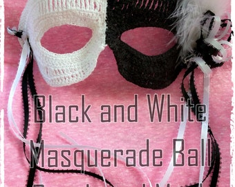 Black and White Masquerade Ball Mask Crochet Pattern PDF - INSTANT DOWNLOAD