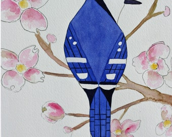 Original blue jay watercolor, spring, blue and pink, bird and cherry blossoms, minimal, flowers, bird in tree, springtime, matted, large art