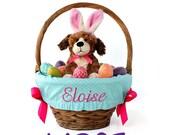 Large Personalized Easter Basket Liner for oversized baskets, Aqua Dots, Basket not included, Jumbo, Monogrammed Easter basket liner