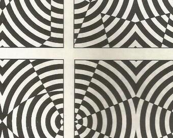 vintage 70s trippy optical illusion poster art print plate black white design retro home decor mod geometric picture wall rocker punk 37/38