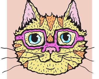 Cute Glasses-Wearing Wiggly Kitties Cat Art Print