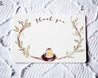 Printable Owl and Egg Thank You Note in Blue