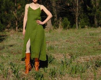 Size Medium... Light Cotton Maxi Slip Dress... Fairy Dress... Deep Leaf Green
