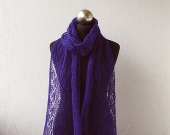 hand knitted beaded alpaca lace scarf, Purple Violet knitted scarf