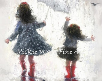 Two Sisters Art Print, two girls rain, two rain sisters, gray, red, black, big sister painting, little girls room wall art, Vickie Wade Art