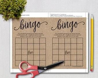 Printable Rustic Baby Shower Bingo Game, Printable Kraft Shower Games, Instant Download